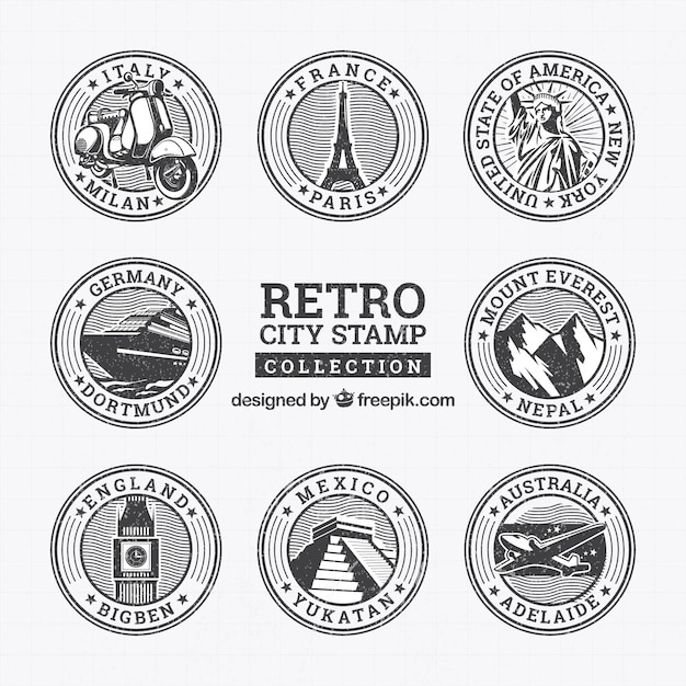 Collection of round retro stamps with landmarks Free Vector