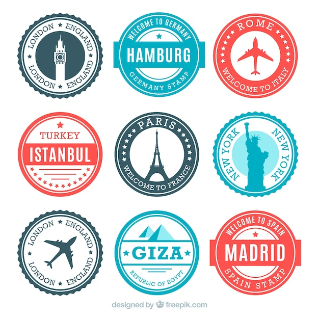Collection of round stamps with monuments Free Vector
