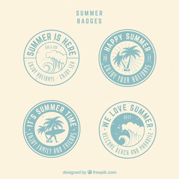 Collection of round summer badges in retro style Free Vector