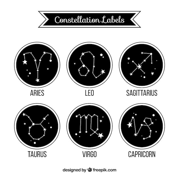 Collection of rounded black labels with constellations Free Vector