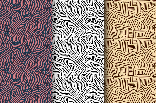 Collection of rounded lines pattern Free Vector