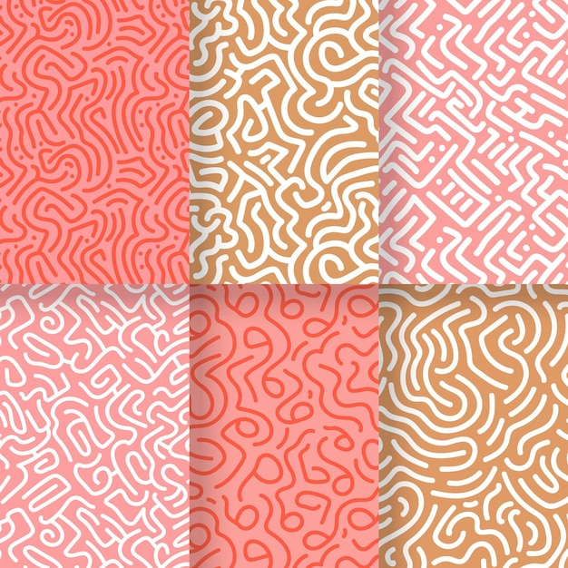 Collection of rounded lines patterns Premium Vector