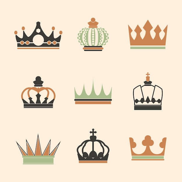 Collection of royal crown vectors Free Vector