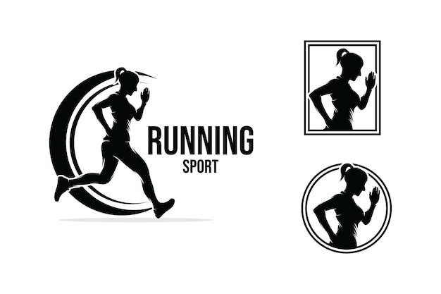 Collection of running logo design Premium Vector