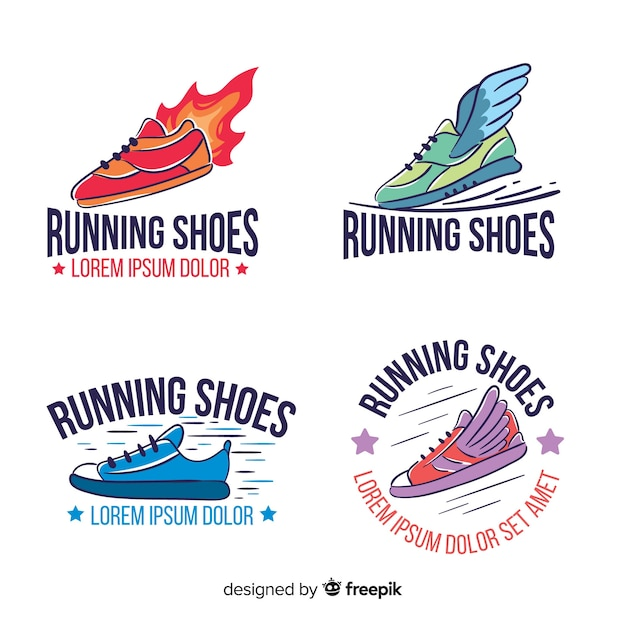 Collection of running shoe logos Free Vector