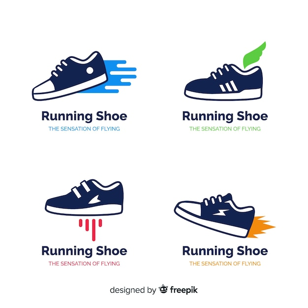 Collection of running shoe logos Premium Vector