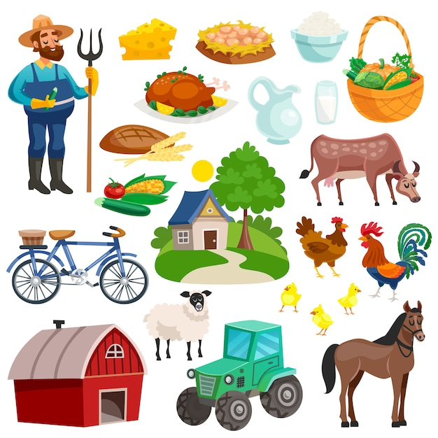 Collection of rural decorative cartoon icons Free Vector
