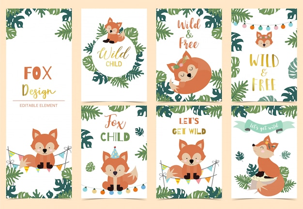 Collection of safari background set with fox Premium Vector
