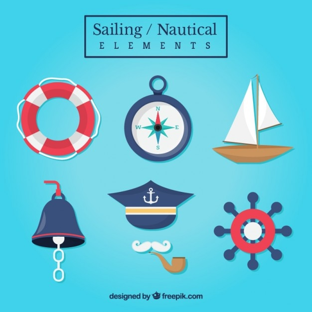 Collection of sailing accessories Free Vector