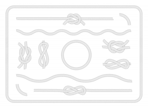 Collection of sailor knots set Free Vector