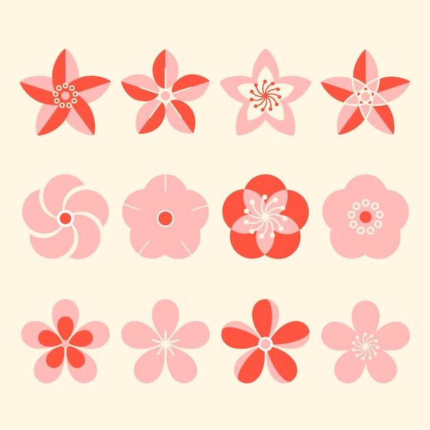 Collection of sakura flowers flat design Free Vector