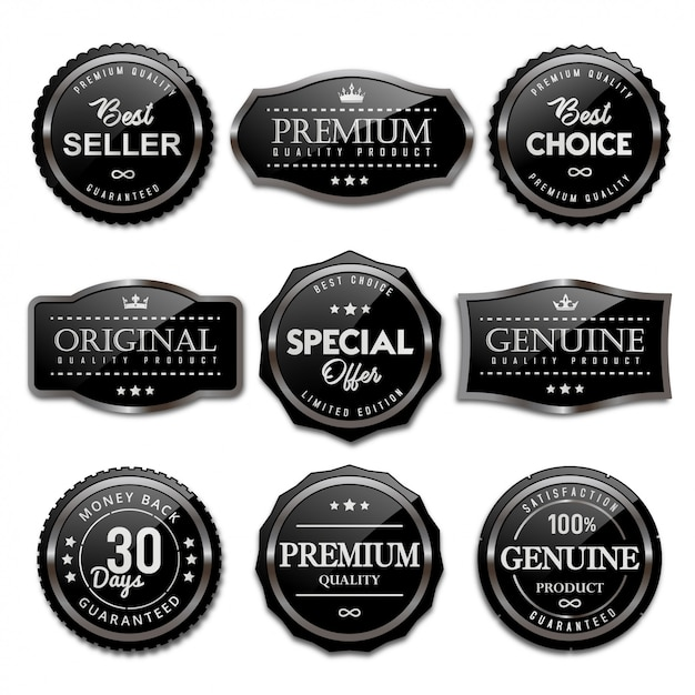 Collection of sale badges and labels black glossy Premium Vector