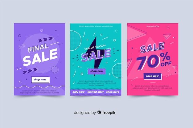 Collection of sale banner memphis style Free Vector