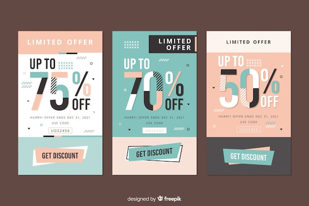 Collection of sale banners in memphis style Free Vector