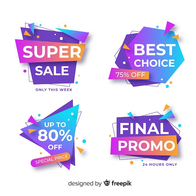 Collection of sale banners origami style Free Vector