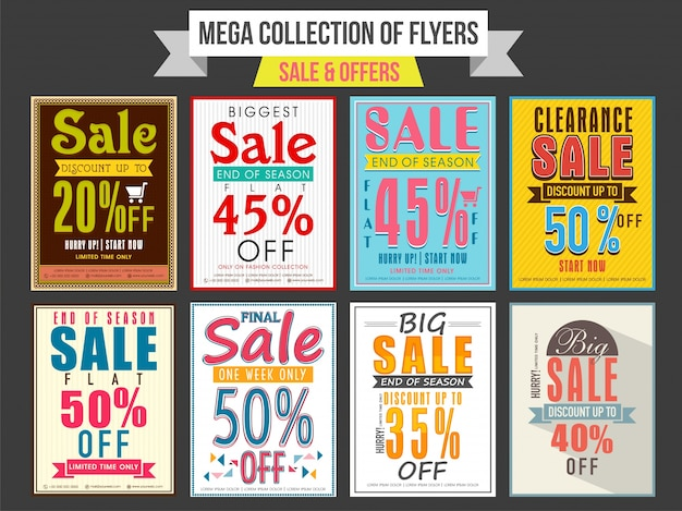 Collection of sale and discount offer flyers, templates and banners design Free Vector