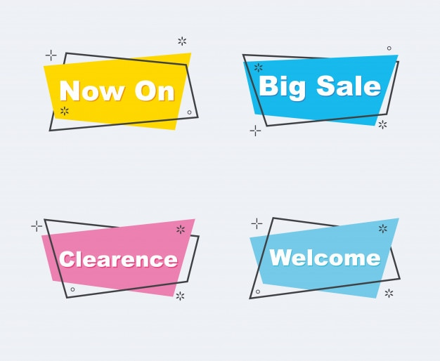 Collection of sale discount styled origami banners Premium Vector