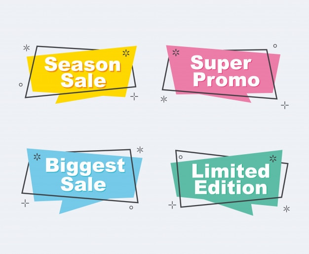 Collection of sale discount styled origami banners. Premium Vector