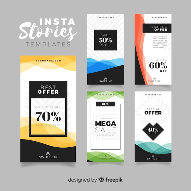 Collection of sale instagram stories templates Free Vector