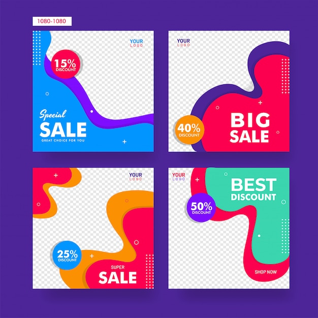 Collection of sale poster or template design with different disc Premium Vector