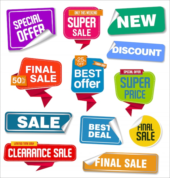 Collection of sale stickers and tags Premium Vector