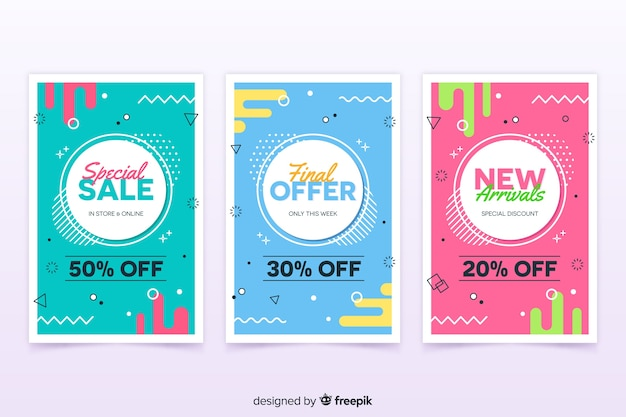 Collection of sales banners in memphis style Free Vector