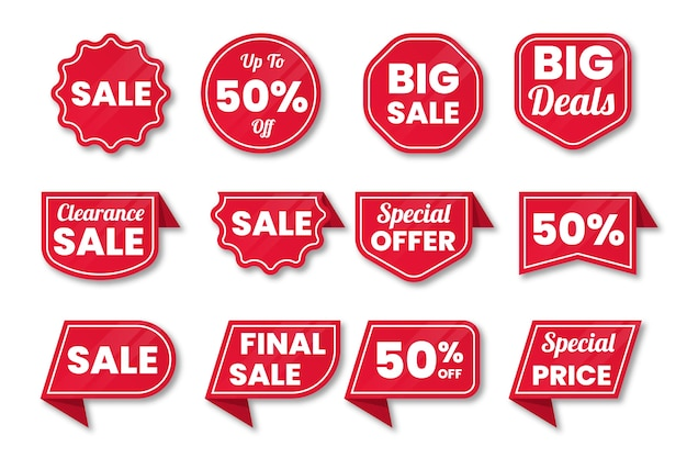 Collection of sales label Free Vector