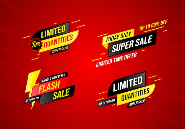 Collection of sales in a modern style Premium Vector