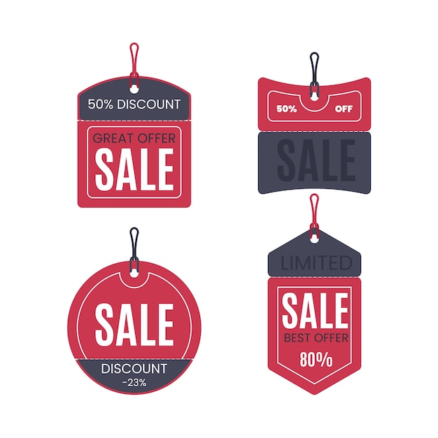 Collection of sales tag flat design Free Vector