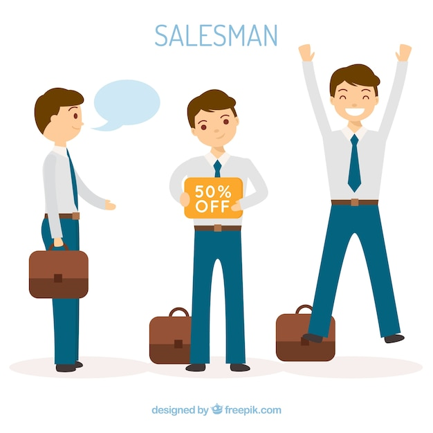 Collection of salesman characters in flat design Free Vector