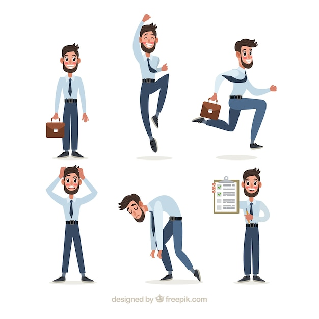 Collection of salesman in different positions Free Vector