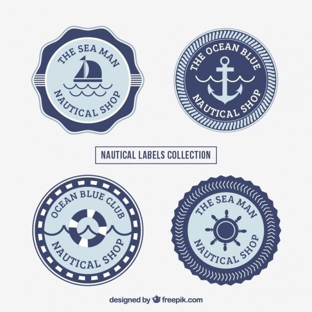 Collection of salor label Free Vector