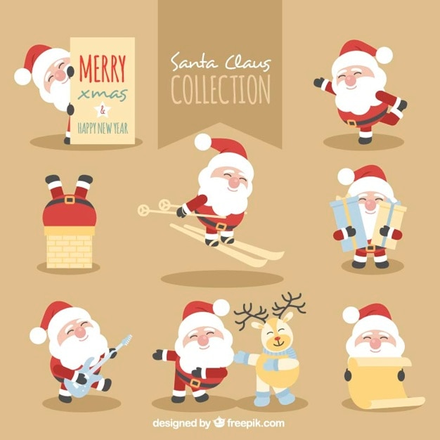 Collection of santa claus doing various activities Free Vector