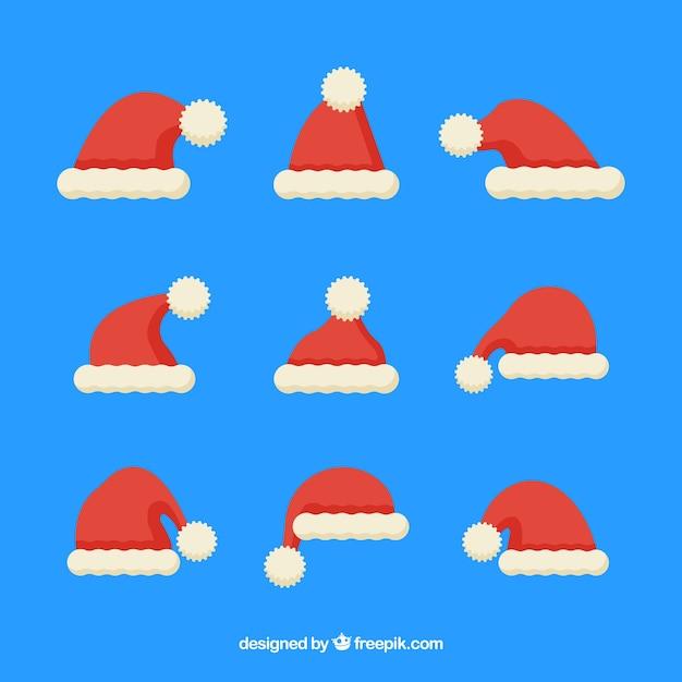 Cappello Babbo Natale Disegno.Collezione Di Cappello Di Babbo Natale In Disegno Piatto Vettore Gratis