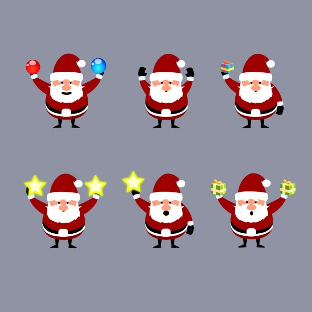 Collection of santa claus with christmas decorations Free Vector
