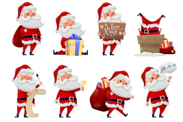 Collection of santa claus Premium Vector