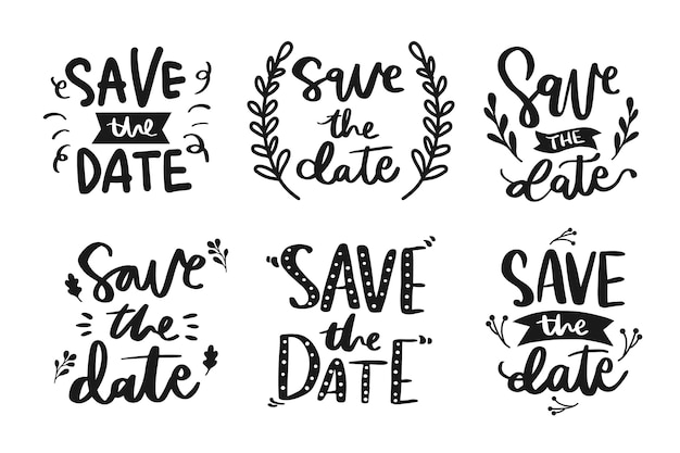 Collection of save the date lettering Free Vector