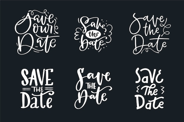 Collection of save the date wedding lettering Free Vector