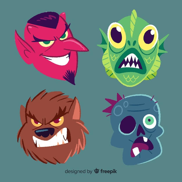 Collection of scary hand drawn halloween character Free Vector