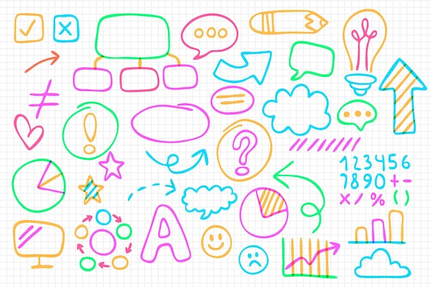 Collection of school infographic elements with colorful markers Free Vector