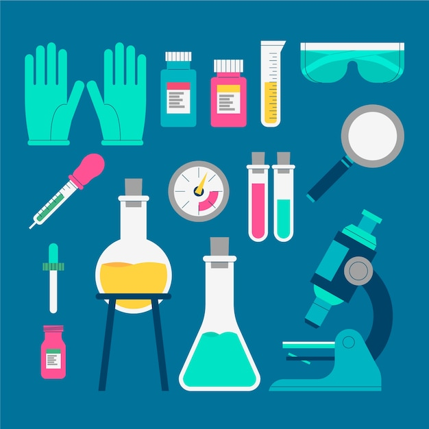 Collection of science lab objects Free Vector