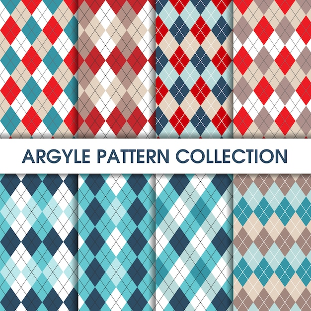 Collection of seamles argyle pattern Premium Vector
