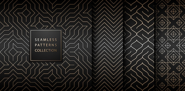 Collection of seamless geometric golden minimalistic patterns.