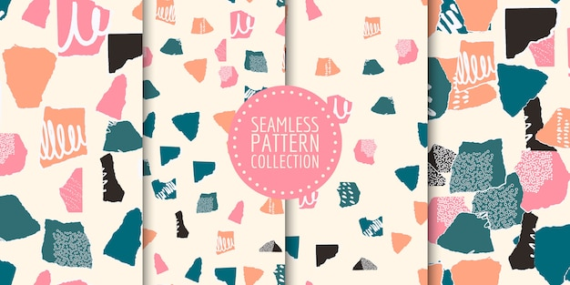 Collection of seamless patterns with different shapes and textures Premium Vector
