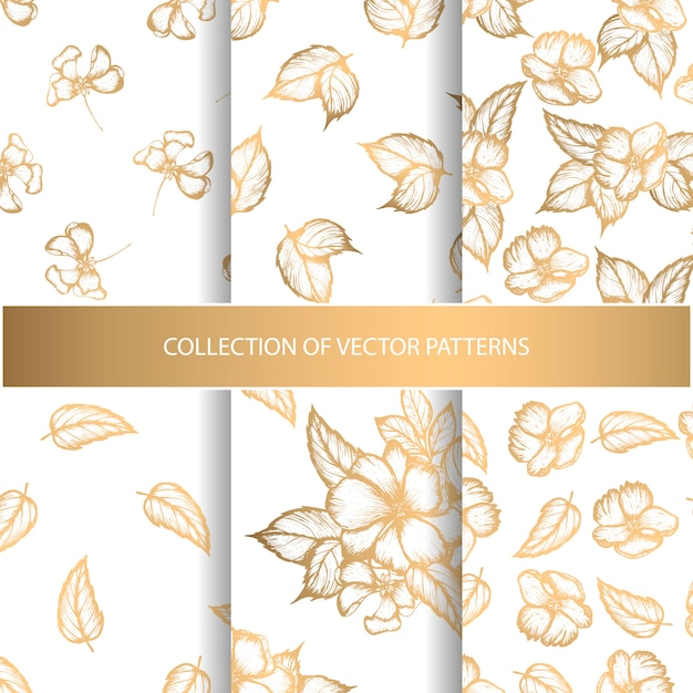 Collection of seamless patterns with golden floral elements Premium Vector