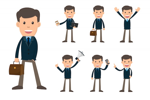 Collection set of business man showing different gestures Premium Vector