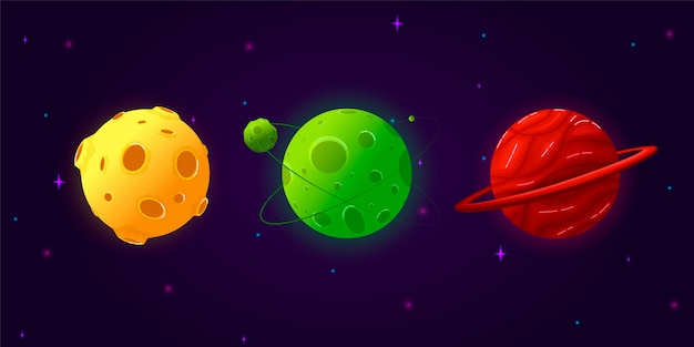 Collection set cartoon planets. colorful set of isolated objects. fantasy planets. Premium Vector