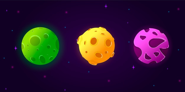 Collection set cartoon planets. Premium Vector