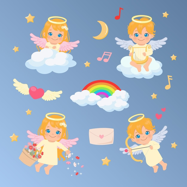 Collection set of female and male angels. angel playing with harp and cupid bow in the clouds decorated with rainbow. valentine's and christmas clip art. Premium Vector