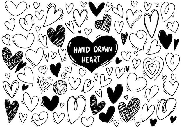 Collection set of hand drawn scribble hearts isolated on white background Premium Vector